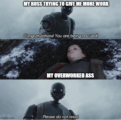 Boss showing that they are doing a favor |  MY BOSS TRYING TO GIVE ME MORE WORK; MY OVERWORKED ASS | image tagged in congratulations you are being rescued please do not resist | made w/ Imgflip meme maker