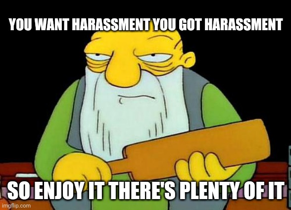 That's a paddlin' |  YOU WANT HARASSMENT YOU GOT HARASSMENT; SO ENJOY IT THERE'S PLENTY OF IT | image tagged in memes,that's a paddlin',harassment,savage memes | made w/ Imgflip meme maker