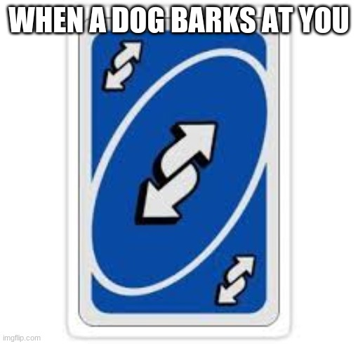 Uno reverse card |  WHEN A DOG BARKS AT YOU | image tagged in uno reverse card | made w/ Imgflip meme maker