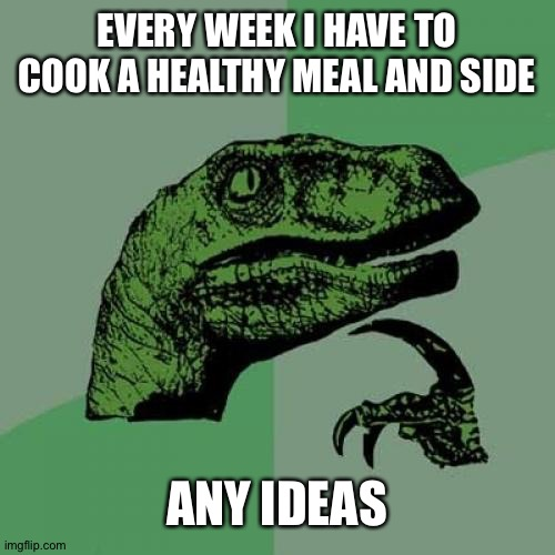 Philosoraptor |  EVERY WEEK I HAVE TO COOK A HEALTHY MEAL AND SIDE; ANY IDEAS | image tagged in memes,philosoraptor | made w/ Imgflip meme maker