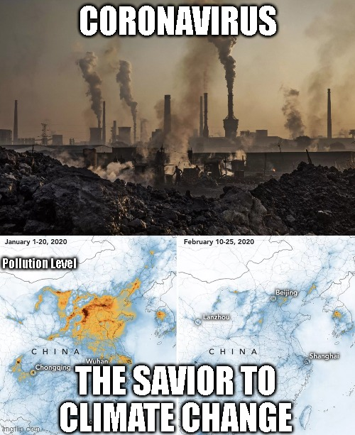CORONAVIRUS; Pollution Level; THE SAVIOR TO CLIMATE CHANGE | image tagged in pollution | made w/ Imgflip meme maker
