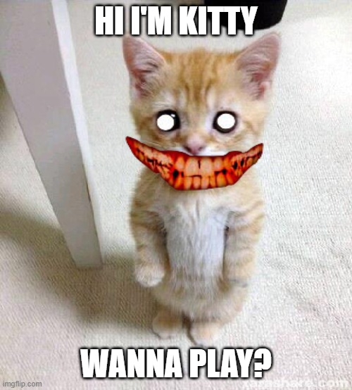 Cute Cat |  HI I'M KITTY; WANNA PLAY? | image tagged in memes,cute cat | made w/ Imgflip meme maker