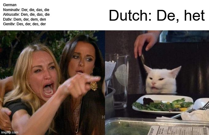 German vs. dutch |  German Nominativ: Der, die, das, die Akkusativ: Den, die, das, die Dativ: Dem, der, dem, den Genitiv: Des, der, des, der; Dutch: De, het | image tagged in memes,woman yelling at cat,language,german,dutch | made w/ Imgflip meme maker