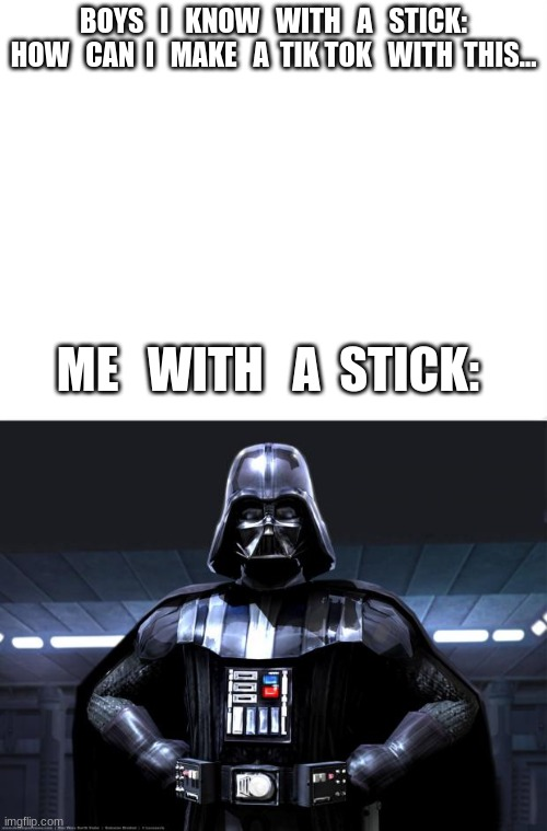 IM SICK OF EVERYONE SAYING GIRLS WANT TO BE PRINCESSES |  BOYS   I   KNOW   WITH   A   STICK:  HOW   CAN  I   MAKE   A  TIK TOK   WITH  THIS... ME   WITH   A  STICK: | image tagged in darth vader,stick,girls rule,tik tok sucks | made w/ Imgflip meme maker
