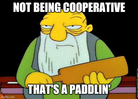In life cooperative is key to lots of things |  NOT BEING COOPERATIVE; THAT'S A PADDLIN' | image tagged in memes,that's a paddlin' | made w/ Imgflip meme maker