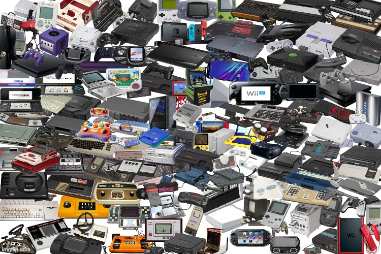 i was bored so i taked every console and photoshoped them together | image tagged in video games,game consoles,playstation,xbox,nintendo,sega | made w/ Imgflip meme maker
