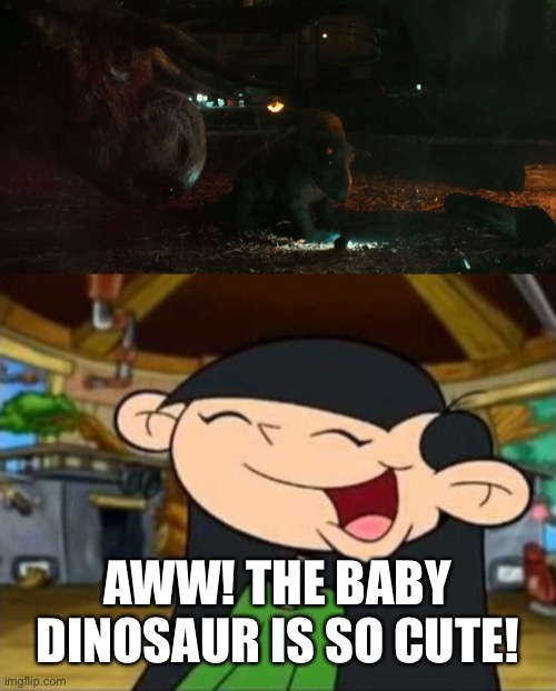 Numbuh 3 Meets Nasutoceratops and the Baby |  AWW! THE BABY DINOSAUR IS SO CUTE! | image tagged in kids next door,jurassic world,baby | made w/ Imgflip meme maker