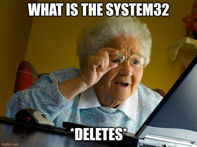 the system32 |  WHAT IS THE SYSTEM32; *DELETES* | image tagged in memes,grandma finds the internet | made w/ Imgflip meme maker