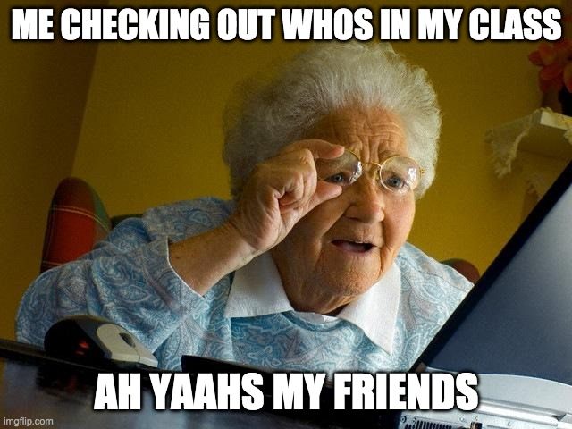 Grandma Finds The Internet |  ME CHECKING OUT WHOS IN MY CLASS; AH YAAHS MY FRIENDS | image tagged in memes,grandma finds the internet | made w/ Imgflip meme maker
