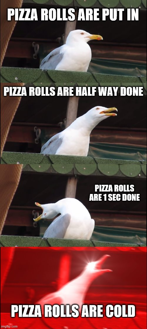 WHY MICROWAVE WHY |  PIZZA ROLLS ARE PUT IN; PIZZA ROLLS ARE HALF WAY DONE; PIZZA ROLLS ARE 1 SEC DONE; PIZZA ROLLS ARE COLD | image tagged in memes,inhaling seagull | made w/ Imgflip meme maker