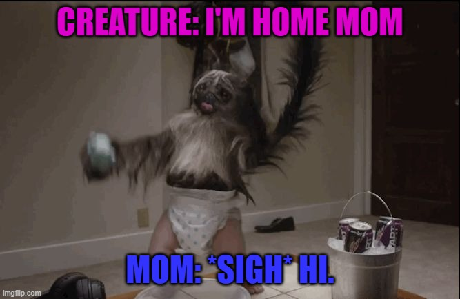 he came home*sigh* |  CREATURE: I'M HOME MOM; MOM: *SIGH* HI. | image tagged in puppy monkey baby | made w/ Imgflip meme maker