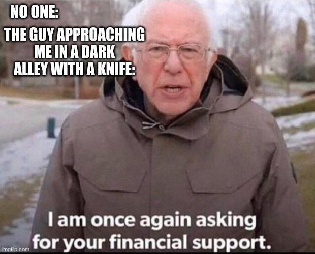 bernie sanders |  NO ONE:; THE GUY APPROACHING ME IN A DARK ALLEY WITH A KNIFE: | image tagged in i am once again asking for your financial support | made w/ Imgflip meme maker