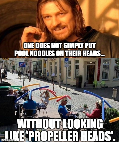Social Distancing in 2020 |  ONE DOES NOT SIMPLY PUT POOL NOODLES ON THEIR HEADS... WITHOUT LOOKING LIKE 'PROPELLER HEADS'. | image tagged in social distancing,corona virus,2020,noodles,pool | made w/ Imgflip meme maker