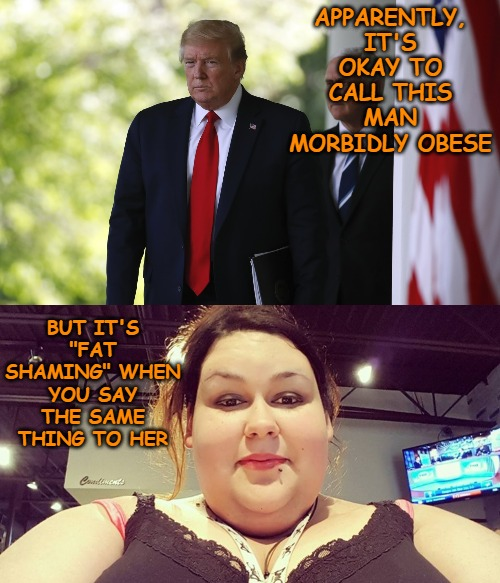 "And just like that, it was okay to fat shame people as long as they're male and are orange in color. |  APPARENTLY, IT'S OKAY TO CALL THIS MAN MORBIDLY OBESE; BUT IT'S ""FAT SHAMING"" WHEN YOU SAY THE SAME THING TO HER 