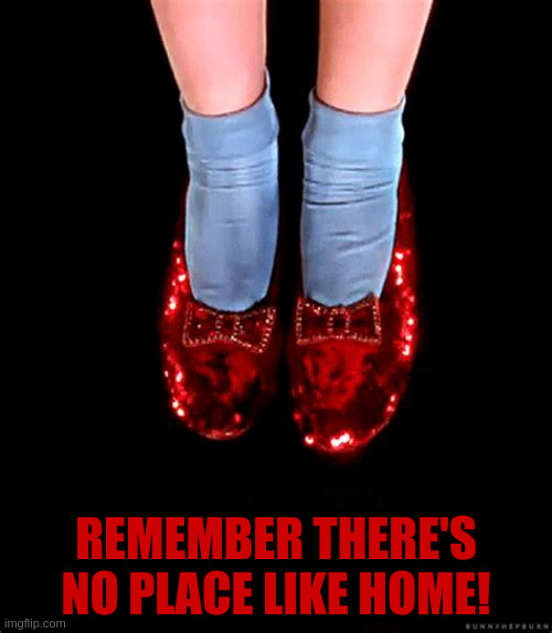 No place like home |  REMEMBER THERE'S NO PLACE LIKE HOME! | image tagged in the wizard of oz | made w/ Imgflip meme maker