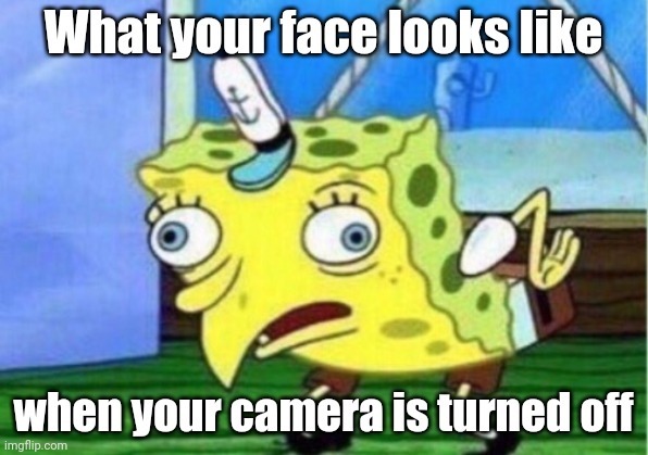Bruh |  What your face looks like; when your camera is turned off | image tagged in memes,mocking spongebob,online school | made w/ Imgflip meme maker