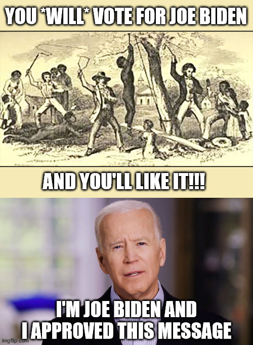 #Blexit |  YOU *WILL* VOTE FOR JOE BIDEN; AND YOU'LL LIKE IT!!! I'M JOE BIDEN AND I APPROVED THIS MESSAGE | image tagged in joe biden 2020,slavery,dnc,democrats,submission | made w/ Imgflip meme maker