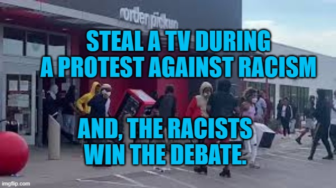You Can't Steal Justice |  STEAL A TV DURING A PROTEST AGAINST RACISM; AND, THE RACISTS WIN THE DEBATE. | image tagged in looting | made w/ Imgflip meme maker