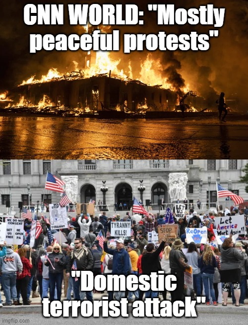 "It's not easy being CNN... |  CNN WORLD: ""Mostly peaceful protests""; ""Domestic terrorist attack"" 