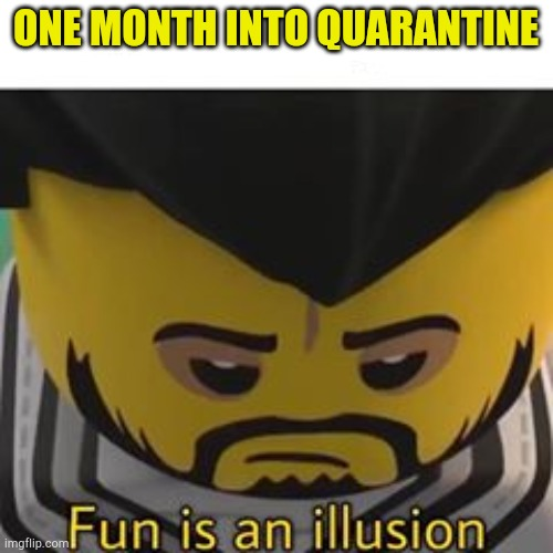 Okino |  ONE MONTH INTO QUARANTINE | image tagged in lego,anime,ninjago,fun | made w/ Imgflip meme maker