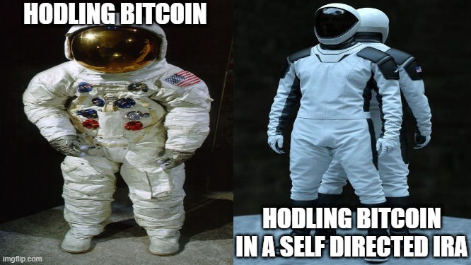 bitcoin! |  HODLING BITCOIN; HODLING BITCOIN IN A SELF DIRECTED IRA | image tagged in bitcoin | made w/ Imgflip meme maker