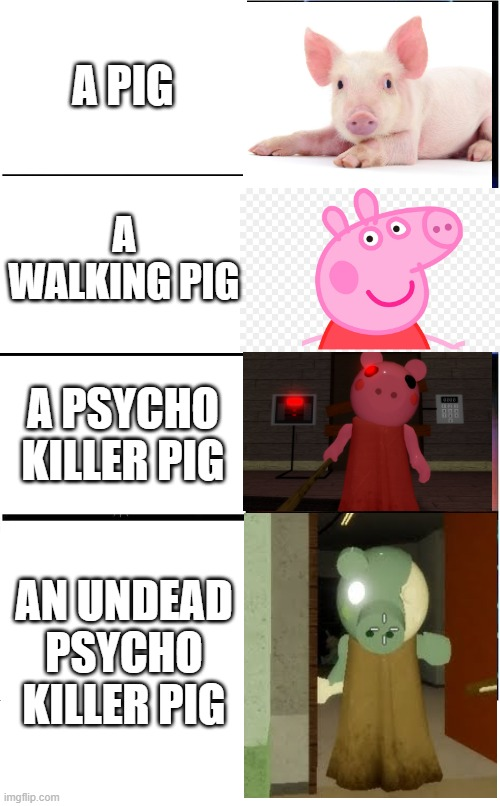 The evolution of pigs |  A PIG; A WALKING PIG; A PSYCHO KILLER PIG; AN UNDEAD PSYCHO KILLER PIG | image tagged in memes,piggy | made w/ Imgflip meme maker