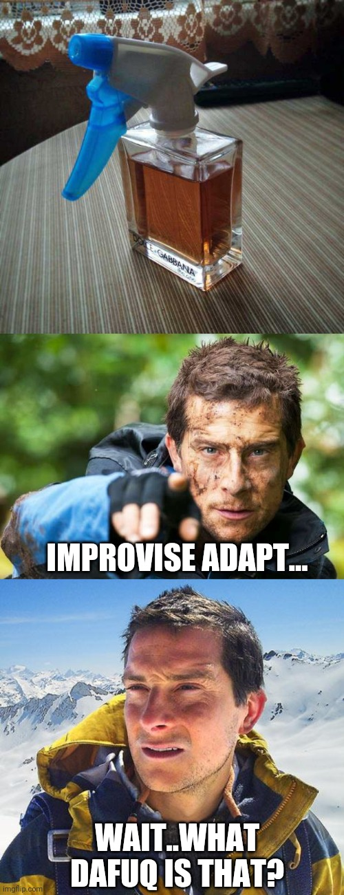 I GUESS IT WOULD WORK |  IMPROVISE ADAPT... WAIT..WHAT DAFUQ IS THAT? | image tagged in memes,bear grylls,wtf,perfume | made w/ Imgflip meme maker