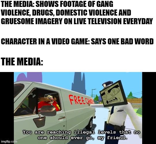 the media in a nutshell |  THE MEDIA: SHOWS FOOTAGE OF GANG VIOLENCE, DRUGS, DOMESTIC VIOLENCE AND GRUESOME IMAGERY ON LIVE TELEVISION EVERYDAY; CHARACTER IN A VIDEO GAME: SAYS ONE BAD WORD; THE MEDIA: | image tagged in you are reaching illegal levels that no one should ever go,the media,videogames,smg4 | made w/ Imgflip meme maker