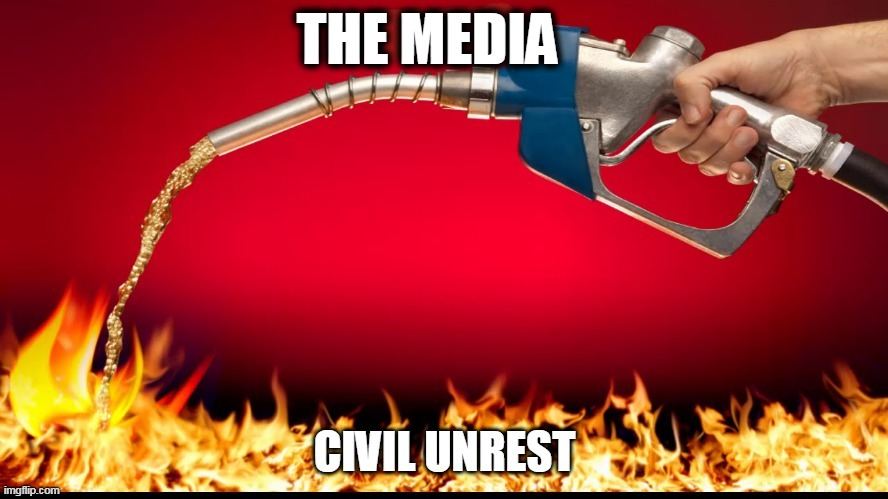 a killer cop started the fire but... |  THE MEDIA | image tagged in media,politics | made w/ Imgflip meme maker