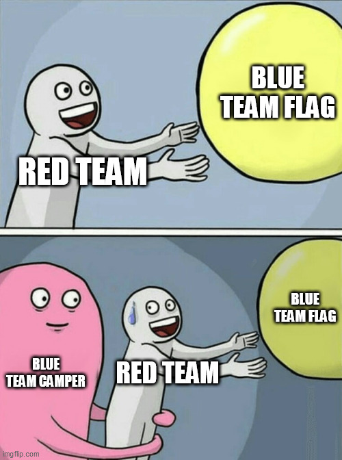Me when CTF. |  BLUE TEAM FLAG; RED TEAM; BLUE TEAM FLAG; BLUE TEAM CAMPER; RED TEAM | image tagged in memes,running away balloon | made w/ Imgflip meme maker