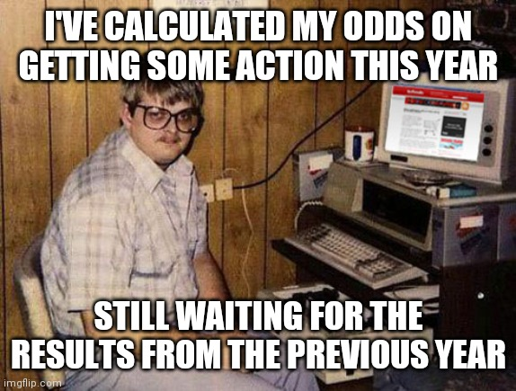 Internet Guide |  I'VE CALCULATED MY ODDS ON GETTING SOME ACTION THIS YEAR; STILL WAITING FOR THE RESULTS FROM THE PREVIOUS YEAR | image tagged in memes,internet guide,woman,dating,action | made w/ Imgflip meme maker