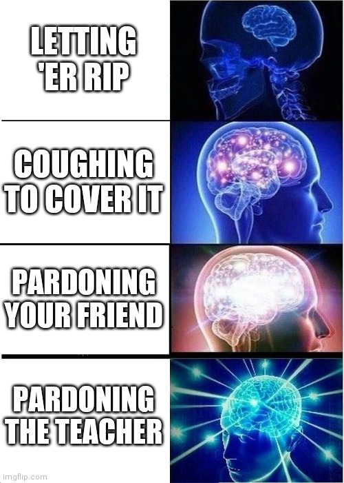 Fart |  LETTING 'ER RIP; COUGHING TO COVER IT; PARDONING YOUR FRIEND; PARDONING THE TEACHER | image tagged in memes,farts | made w/ Imgflip meme maker