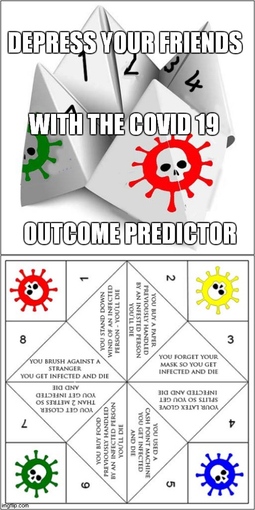 An Origami Project To While Away An Hour Or So ! |  DEPRESS YOUR FRIENDS; WITH THE COVID 19; OUTCOME PREDICTOR | image tagged in fun,covid 19,fortune teller,origami | made w/ Imgflip meme maker