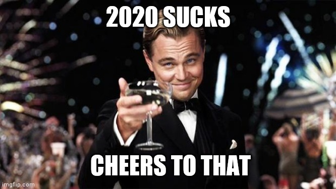 Gatsby toast  | 2020 SUCKS CHEERS TO THAT | image tagged in gatsby toast | made w/ Imgflip meme maker