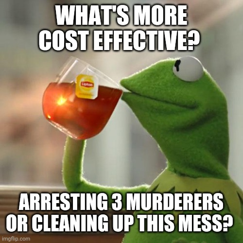 But That's None Of My Business |  WHAT'S MORE COST EFFECTIVE? ARRESTING 3 MURDERERS OR CLEANING UP THIS MESS? | image tagged in memes,but that's none of my business,kermit the frog,justice,george floyd,black lives matter | made w/ Imgflip meme maker
