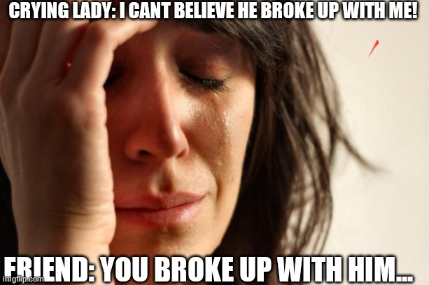 First World Problems Meme |  CRYING LADY: I CANT BELIEVE HE BROKE UP WITH ME! FRIEND: YOU BROKE UP WITH HIM... | image tagged in memes,first world problems | made w/ Imgflip meme maker