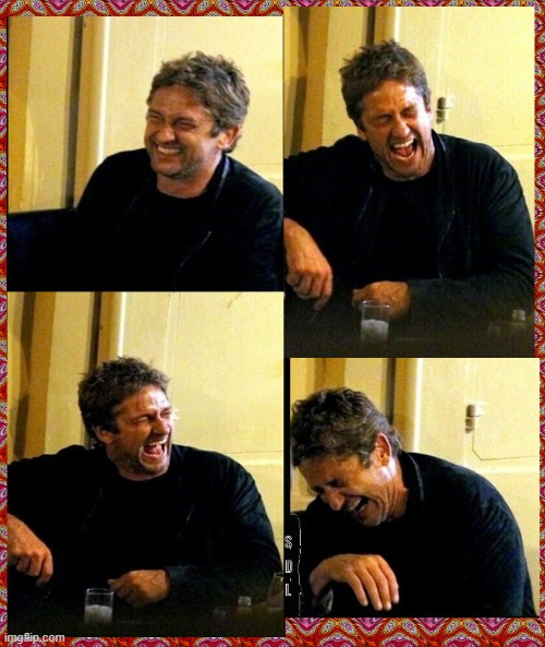 #GerardButler and his Thunderous Laughs | image tagged in gerard butler,movies,art,angel,memes,dinner | made w/ Imgflip meme maker