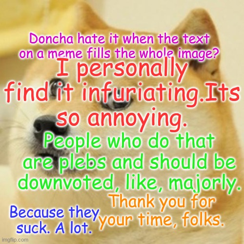 Doge |  Doncha hate it when the text on a meme fills the whole image? I personally find it infuriating.Its so annoying. People who do that are plebs and should be downvoted, like, majorly. Thank you for your time, folks. Because they suck. A lot. | image tagged in memes,doge | made w/ Imgflip meme maker