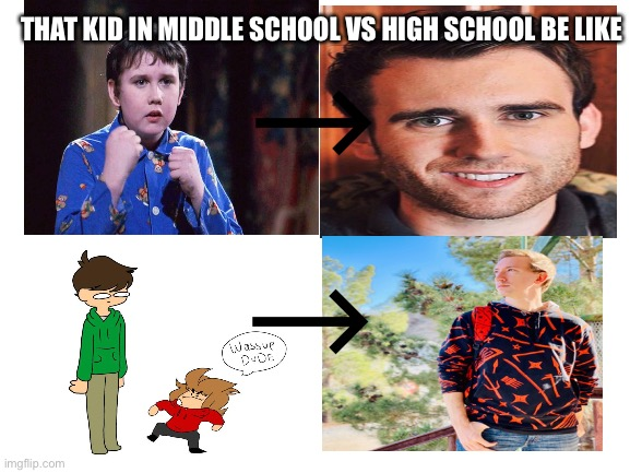 Middle school to highschool glo up lol |  THAT KID IN MIDDLE SCHOOL VS HIGH SCHOOL BE LIKE | image tagged in eddsworld,harry potter,neville longbottom,middle school,highschool | made w/ Imgflip meme maker