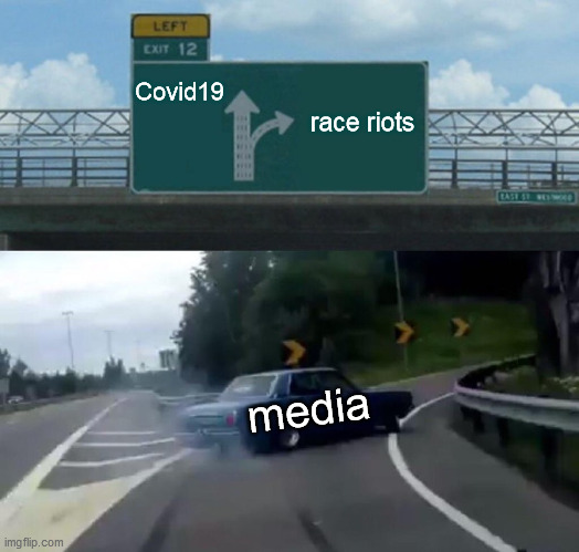 The Changing Narrative |  Covid19; race riots; media | image tagged in memes,left exit 12 off ramp,media,made in china,antifa | made w/ Imgflip meme maker