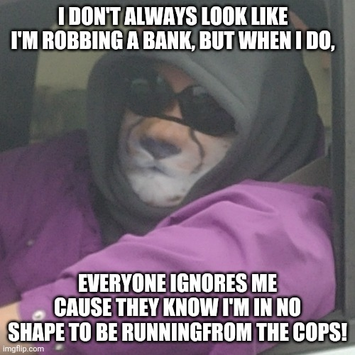 Incognito but essentially harmless. |  I DON'T ALWAYS LOOK LIKE I'M ROBBING A BANK, BUT WHEN I DO, EVERYONE IGNORES ME CAUSE THEY KNOW I'M IN NO SHAPE TO BE RUNNINGFROM THE COPS! | image tagged in i don't always,memes,bank robber,fat people,funny,incognito | made w/ Imgflip meme maker