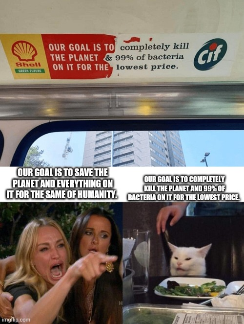 Typo: it's meant to say: for the SAKE of humanity |  OUR GOAL IS TO COMPLETELY KILL THE PLANET AND 99% OF BACTERIA ON IT FOR THE LOWEST PRICE. OUR GOAL IS TO SAVE THE PLANET AND EVERYTHING ON IT FOR THE SAME OF HUMANITY. | image tagged in memes,woman yelling at cat,train,signs,sign,fun | made w/ Imgflip meme maker
