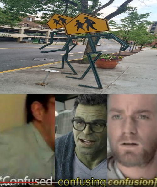 The pedestrian sign walking | image tagged in confused confusing confusion,memes,funny,meme,road signs,fun | made w/ Imgflip meme maker