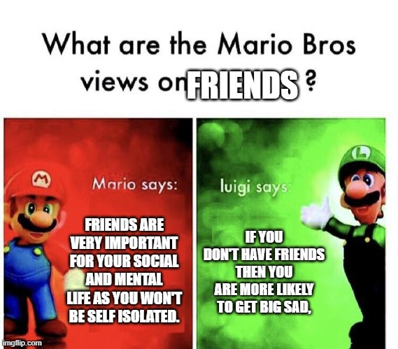 Mario Bros Views |  FRIENDS; FRIENDS ARE VERY IMPORTANT FOR YOUR SOCIAL AND MENTAL LIFE AS YOU WON'T BE SELF ISOLATED. IF YOU DON'T HAVE FRIENDS THEN YOU ARE MORE LIKELY TO GET BIG SAD, | image tagged in mario bros views | made w/ Imgflip meme maker