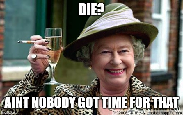 Queen Elizabeth |  DIE? AINT NOBODY GOT TIME FOR THAT | image tagged in queen elizabeth | made w/ Imgflip meme maker