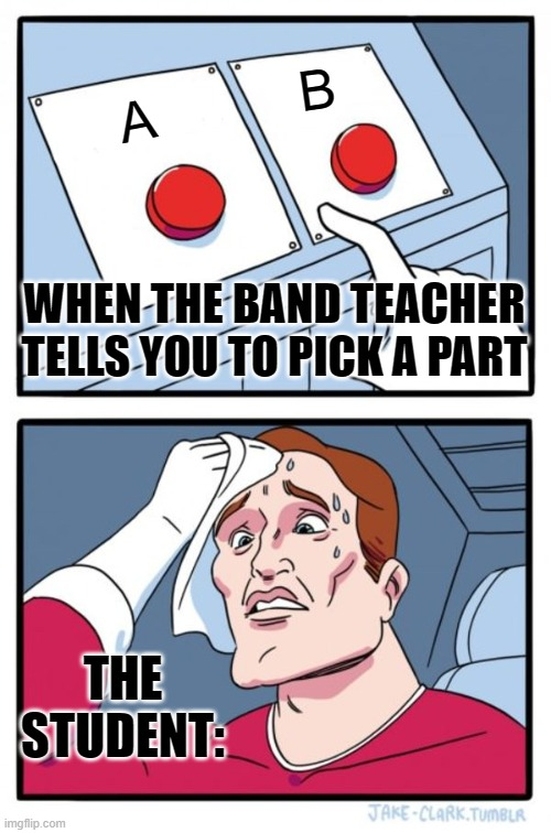 Two Buttons Meme |  B; A; WHEN THE BAND TEACHER TELLS YOU TO PICK A PART; THE STUDENT: | image tagged in memes,two buttons | made w/ Imgflip meme maker