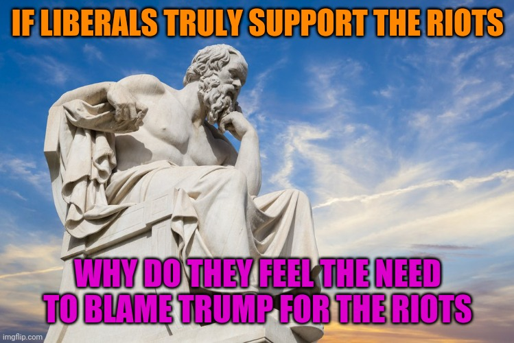 You Don't Blame Someone You Hate For Something You Support |  IF LIBERALS TRULY SUPPORT THE RIOTS; WHY DO THEY FEEL THE NEED TO BLAME TRUMP FOR THE RIOTS | image tagged in philosophy,liberal logic,stupid people,riots,idiots | made w/ Imgflip meme maker