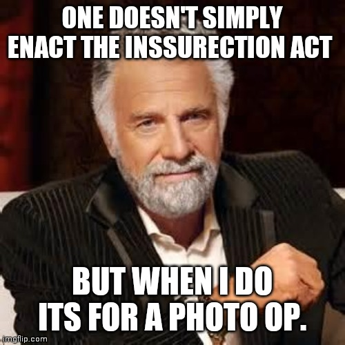 Dos Equis Guy Awesome |  ONE DOESN'T SIMPLY ENACT THE INSSURECTION ACT; BUT WHEN I DO ITS FOR A PHOTO OP. | image tagged in dos equis guy awesome | made w/ Imgflip meme maker