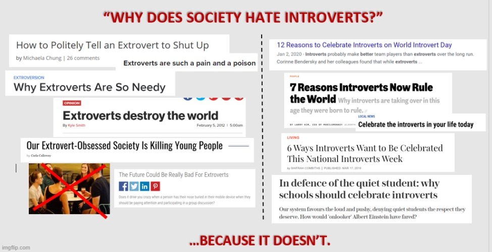 Extrovert Bad. Introvert Good. Consoom Isolation and don't talk to others. | image tagged in memes,mbti,extrovert,elitist,comparison,introvert | made w/ Imgflip meme maker
