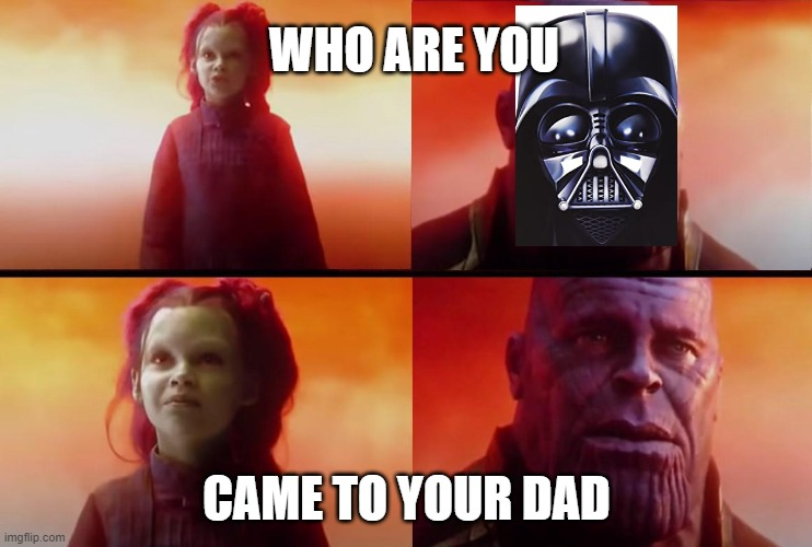 thanos what did it cost |  WHO ARE YOU; CAME TO YOUR DAD | image tagged in thanos what did it cost | made w/ Imgflip meme maker